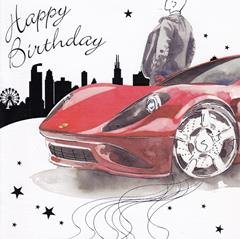 Happy Birthday Sports Car Message Inside