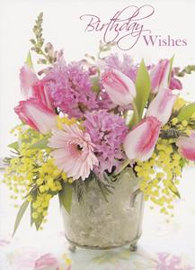 Pink Flowers Birthday Wishes Greeted Especially For You